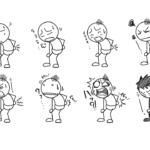 腰痛棒人間(^^; 痛みの症状を描き分ける